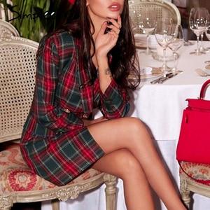 Image 4 - Simplee Streetwear כותנה משובץ שמלת אלגנטי טור כפתורים כפול ארוך שרוול שמלת משרד ליידי דש ישר סתיו קצר שמלה