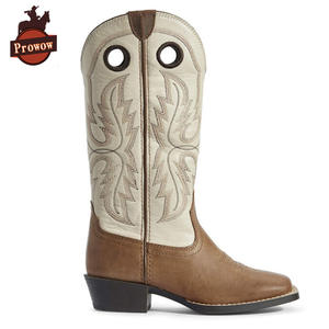 Boot Western Girls Kids Genuine-Leather Children Prowow-Shoes Boys Knee Suture Patchwork
