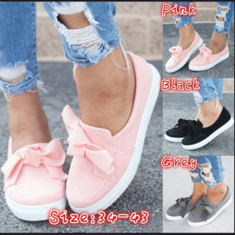 Women 2020 Spring Summer Loafers Plus Size Platform Slip On Bowtie Flat Shoes Suede Solid Sweet Shoes Flat Female Flock Footwear