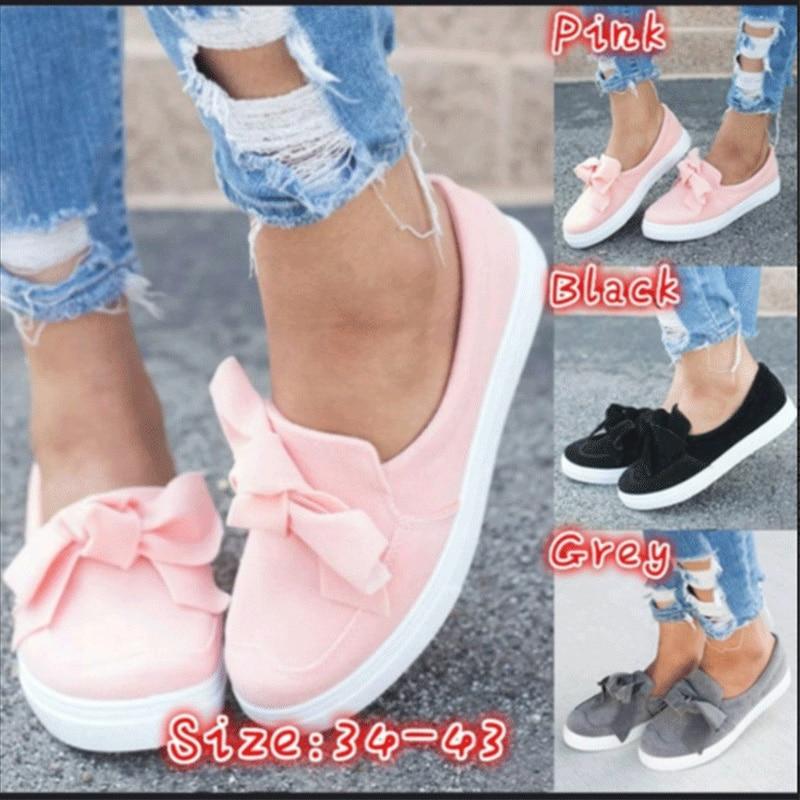 Women 2020 Spring Summer Loafers Plus Size Platform Slip On Bowtie Flat Shoes Suede Solid Sweet Shoes Flat Female Flock Footwear