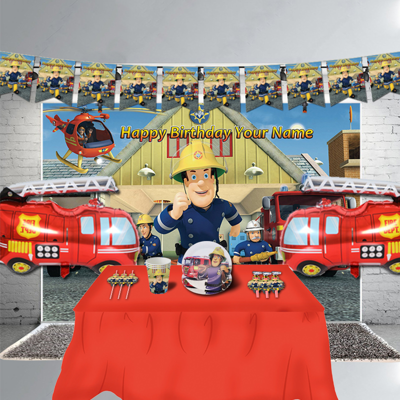 Fireman Sam Birthday Party Banner Decorations Fire Engine Fighter Theme Favors Kids Birthday Party Supplies