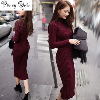 Winter Sweater Knitted long red Dresses Slim Elastic Turtleneck Long Sleeve Sexy Lady Bodycon Robe Dresses
