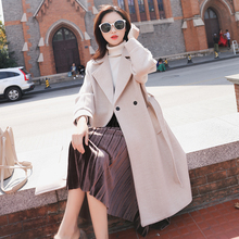 2019 Autumn Winter Warm Lace Up Coat Women Pocket Wool &
