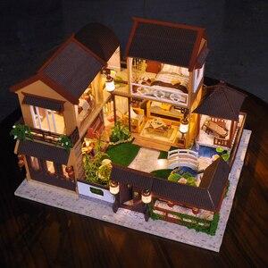 Image 3 - ילדים צעצועי Diy בית בובות להרכיב עץ מיניאטורות בית בובות ריהוט מיניאטורי בית בובות פאזל צעצועים חינוכיים לילדים