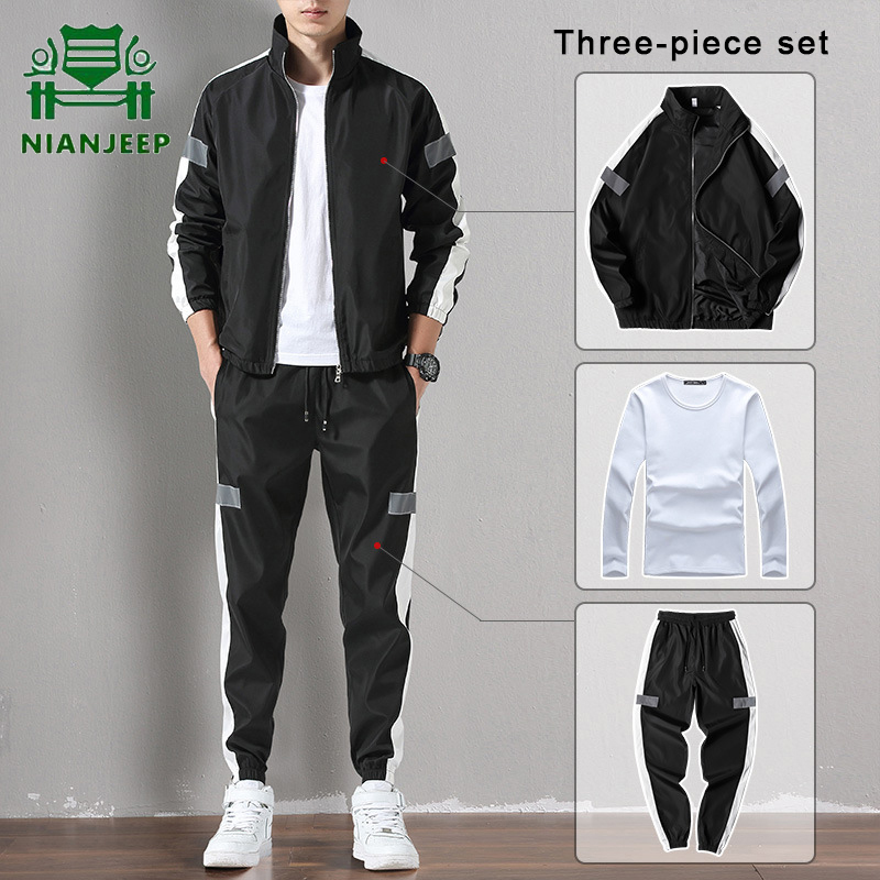 Spring Autumn Casual Hoodies+Pants Sets Men Reflective Strip Streetwear Sporting Suit Men Outwear Tracksuit Men Chandal Hombre