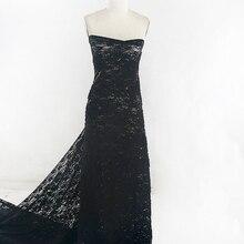 5 ярдов* 130 см Франция Черная кружевная ткань для вечернего платья или свадебного платья в для женщин