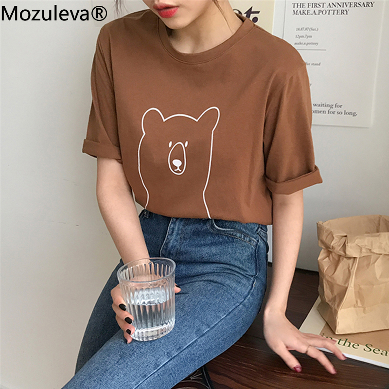 Mozuleva 2020 Chic Cartoon Bear Cotton Women T-shirt Summer Short Sleeve Female T Shirt Spring White O-neck Top Tees 100% Cotton 1