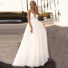 Eightree A Line Boho Wedding Dresses Flower Appliques vestido de noiva Bridal Dress Spaghetti Straps Robe de soiree Wedding Gown цена и фото