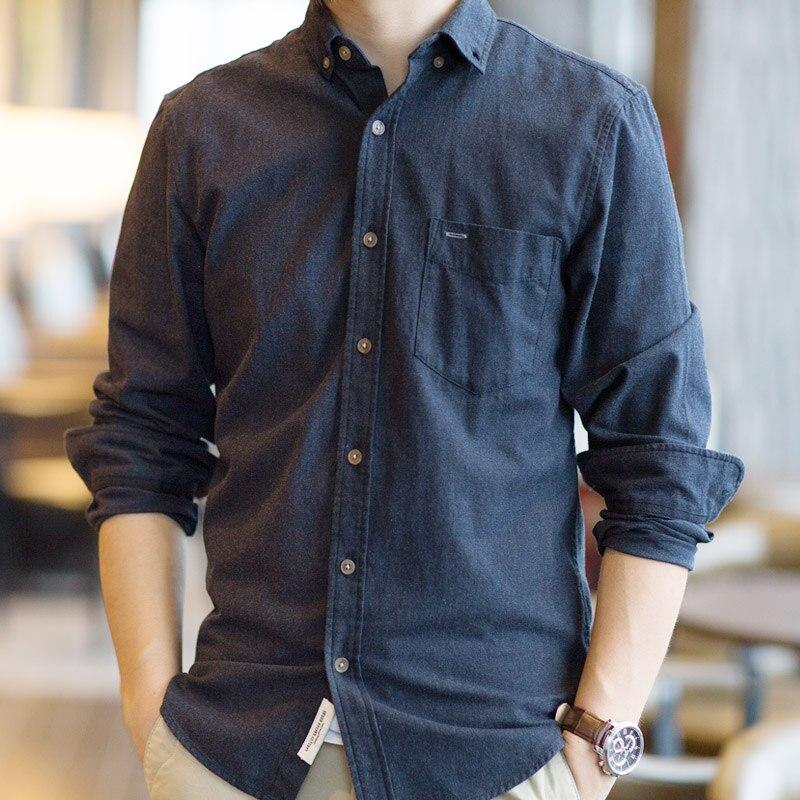 Men's Shirt Long Sleeve Cotton Casual Bottom Slim Mandarin Collar Mens Shirts Office Double Collar Men Classic Shirts Fit HH50CS