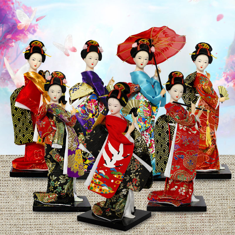 25cm Kawaii Japanese Lovely Geisha Figurines Dolls With Beautiful Kimono New House Office Decoration Miniatures Birthday Gift