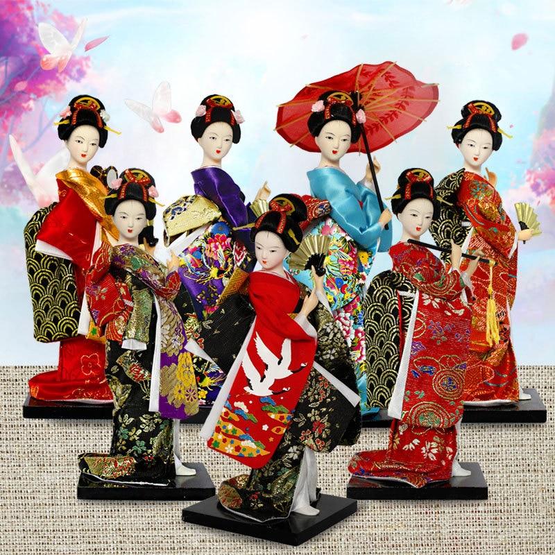 25cm Kawaii Japanese Lovely Geisha Figurines Dolls With Beautiful Kimono New House Office Decoration Miniatures Birthday Gift