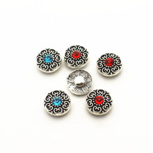 Hot selling 20pcs/lot flower metal crystal alloy button 12mm Snap Buttons Fit DIY Bracelet Button Charms Jewelry