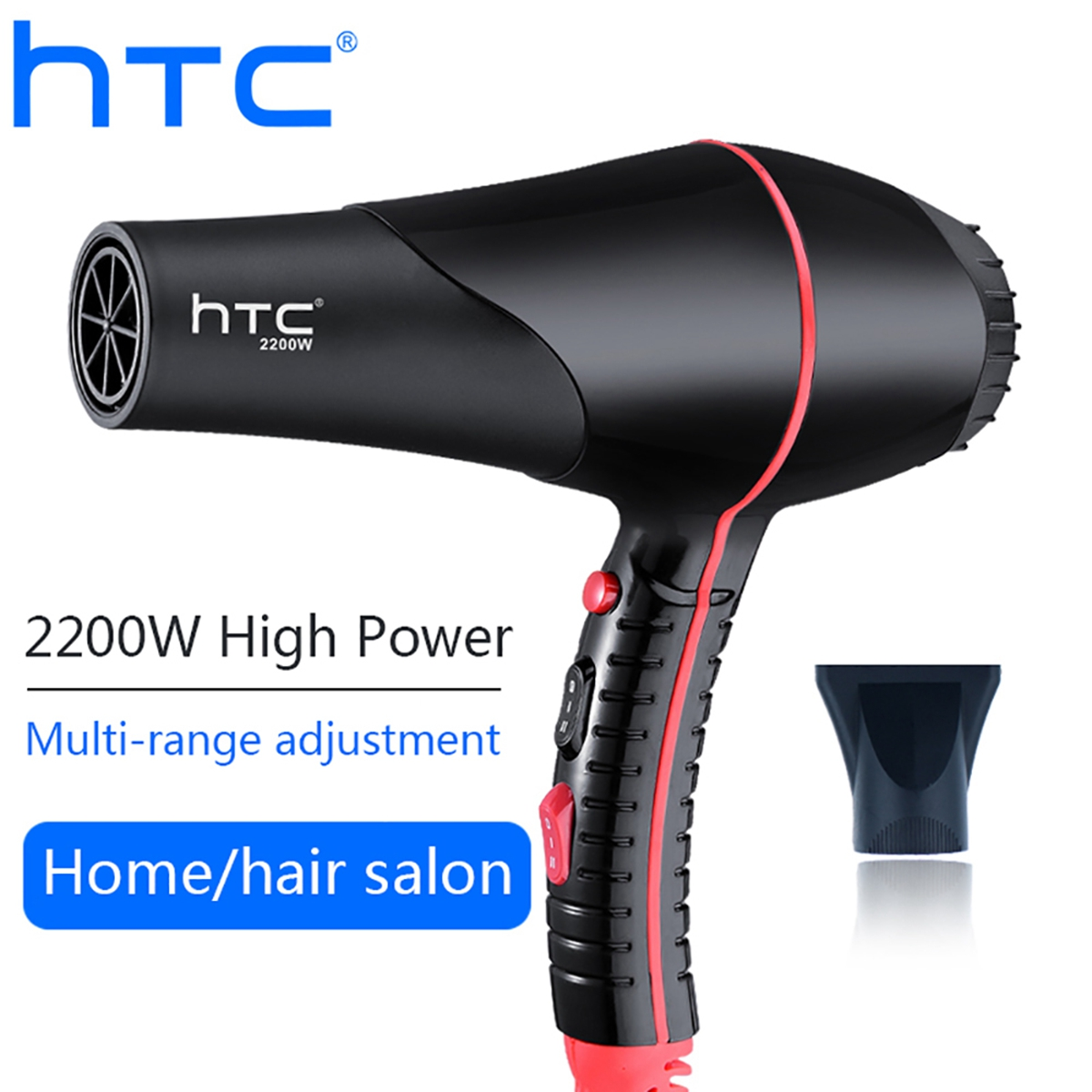HTC Hair Dryer Professional 2200W Strong Power Hair Dryer For Hairdressing Barber Salon Tools Blow Hairdryer Hair Dryer Fan