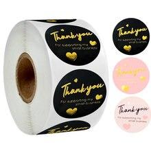Obrigado do ouro preto de 500 pces você etiqueta para a etiqueta da decoração do presente obrigado por apoiar minha etiqueta do negócio pequeno para a etiqueta dos artigos de papelaria