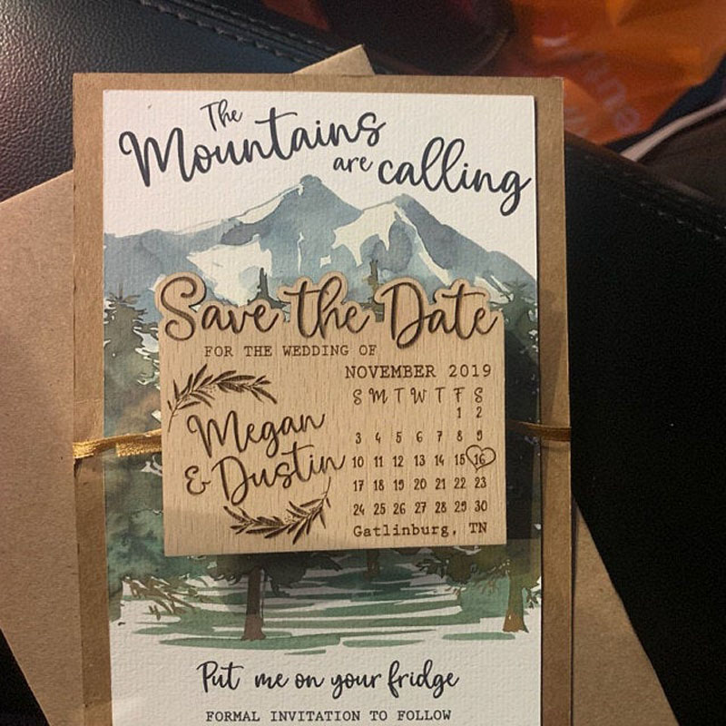 Image 3 - Calendar Save the Date Magnet, Wood  Mountain Save the Date, Custom Leaf Save the Date, Adventure Save the DateParty Favors   -