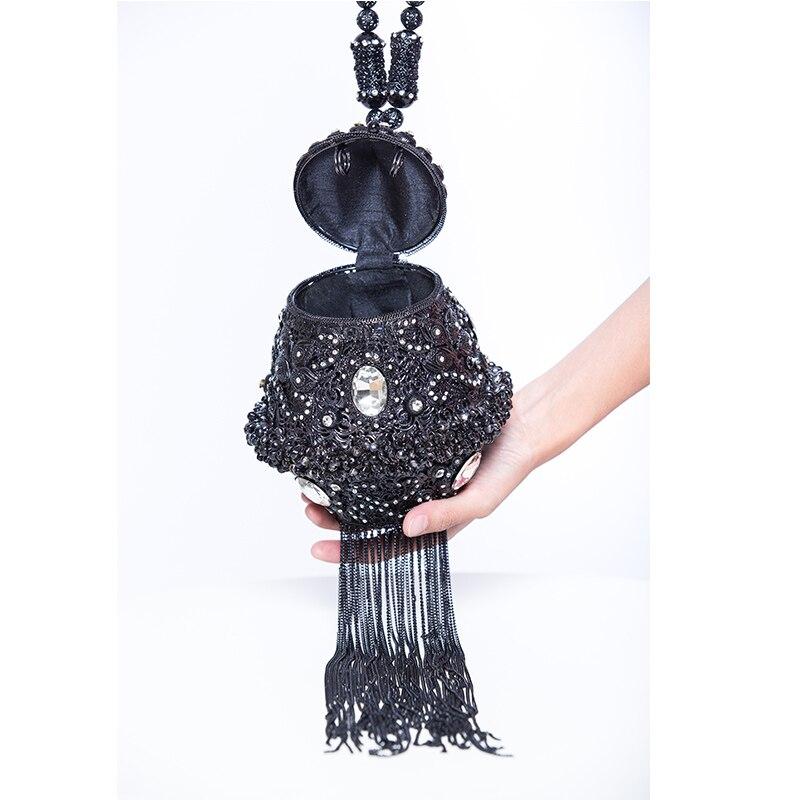 DOYUTIG, индийский стиль, женские клатчи ручной работы, стразы, бусины, дамские винтажные плетеные Длинные вечерние сумки с кисточками для свадьбы, F702 - 6