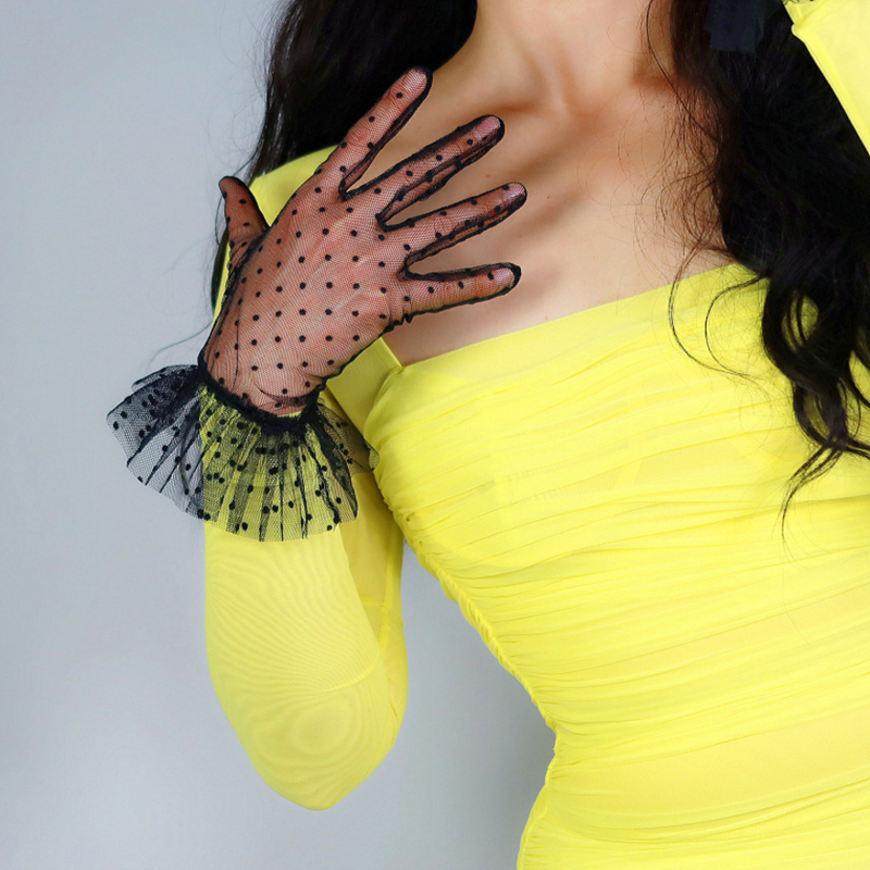 LACE SHORT GLOVES Female Ruffle Trim Layer Tulle Mesh Semi Sheer TECH Black Polka Dot  Women Gloves Touchscreen WWS12
