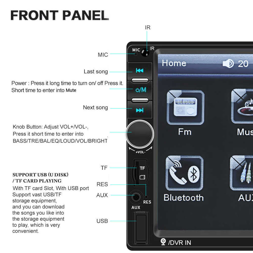 "Podofo 7 ""HD Autoradio 2 Din 7010B 車ラジオ Bluetooth カーマルチメディアプレーヤーアンドロイド Mirrorlink FM USB AUX TF 自動オーディオステレオ"