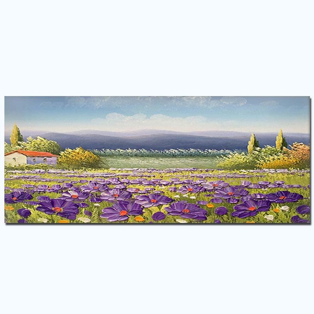 Peinture à l'huile sur toile à la main abstraite violet fleur champ paysage Art paysage toile salon décor à la maison livraison directe