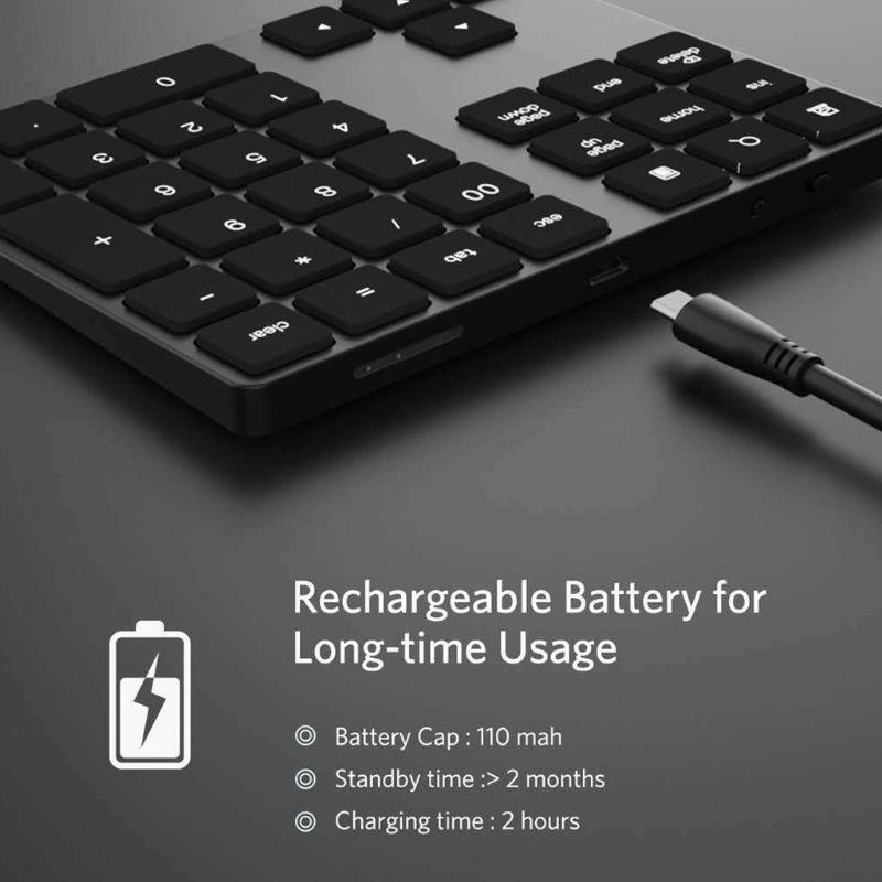 Black And Silver Optional 34 Keys Mini Numpad Wireless Bluetooth Numeric Keypad For Apple PC Keyboard Numpads Keypads