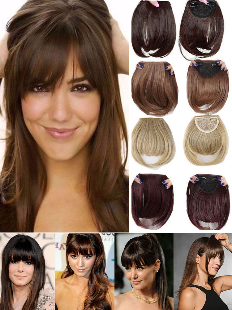 Hairpiece Blunt-Bangs Blonde Fake-Fringe SNOILITE 18colors Synthetic Women Brown Black