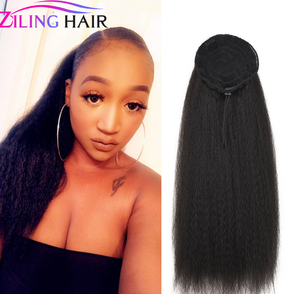 Synthetic Afro Kinky Curly Pigtails Hair Piece With Clip And Drawstring For Girl And Women False Hair Clip Ponytail Extension