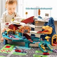 Coche de pista de dinosaurio eléctrico para niños, rompecabezas, juguetes de aventura, bobinado, regalo de cumpleaños
