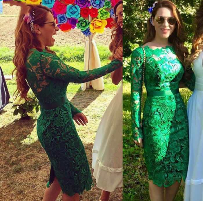 New Green Lace Cocktail Dresses Mini Elegant 2019 Formal Dress Wedding Party Homecoming Long Sleeves Dresses Slit