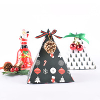 Christmas candy paper packaging flower gift box party favors Christmas folded paper color paper boxes Xmas decorations for home
