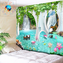 цена на 3D Waterfall Tapestry Lotus Flowers Mandala Wall Hanging Hippie Psychedelic Tapestry Wall Art Boho Decor Wall Carpet tapiz pared