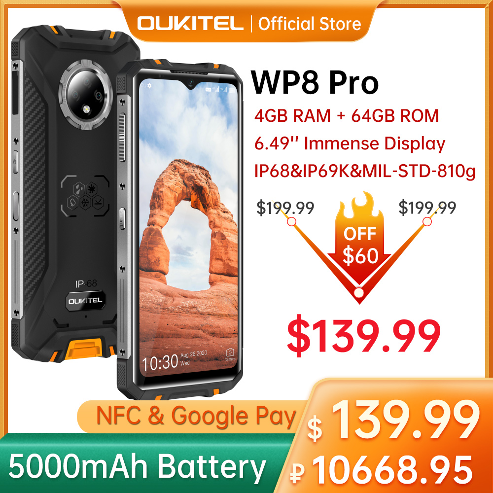 OUKITEL WP8 Pro Rugged 4G Smartphone 4GB 64GB 5000mAh Octa Core Mobile Phone NFC 16MP Triple Camera 6.49'' Android10 Smart Phone 1