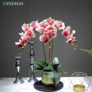 Image 5 - Witte Orchidee Bloem Arrangement 90Cm (3 Orchidee + 3 Blad + Pot Optioneel) real Touch Bloem Bruiloft Decoratie Event Bloemist