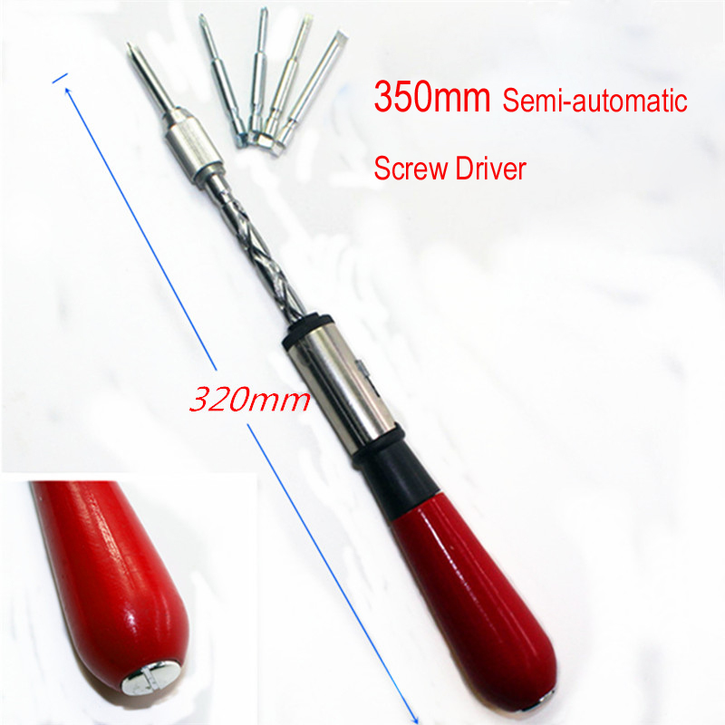 1set Semi-automatic 350MM Spiral Screw Driver Hand Pressing Ratchet Screwdriver With Slotted And Phillips Screwdriver Bits
