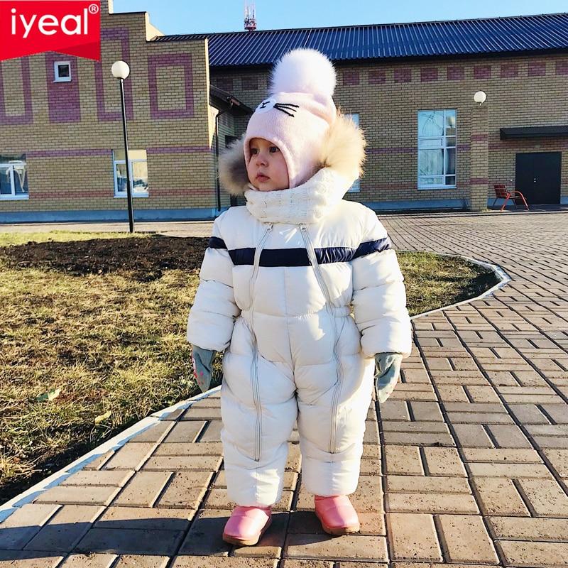 Iyeal mais novo inverno crianças roupas de bebê com capuz pele natural engrossar quente macacão menino infantil menina snowsuit outwear