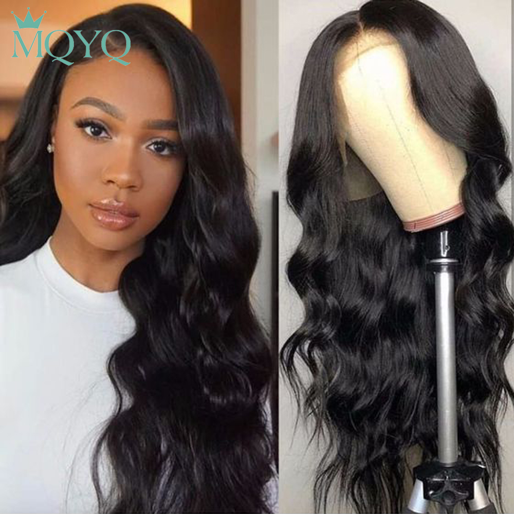 MQYQ 360 Lace Frontal Wig Peruvian Non Remy Lace Frontal Human Hair Wigs Body Wave 360 Wig For Black Women Bleached Knot Natural