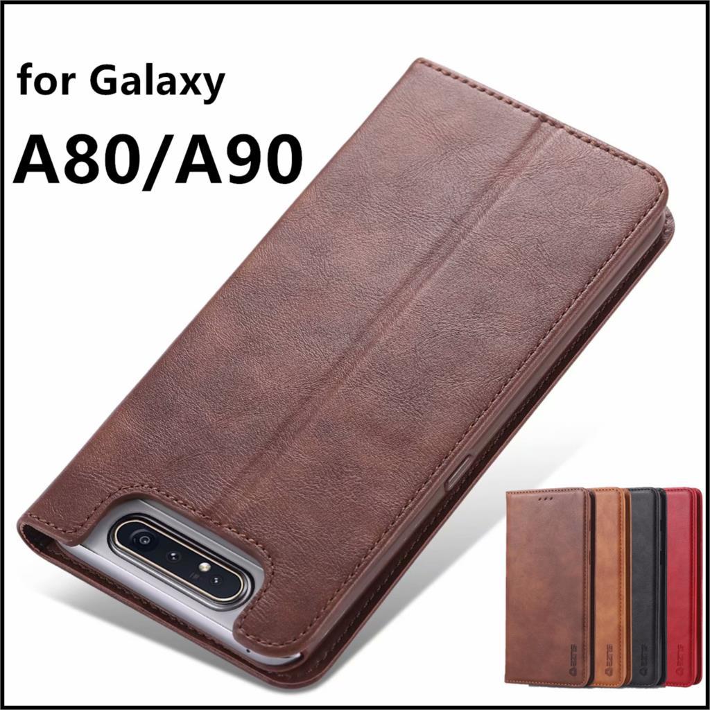 AZNS Case For Samsung Galaxy A80 A805F PU Leather Cover Card Holder Retro Wallet Case For Samsung Galaxy A90 Fundas Coque