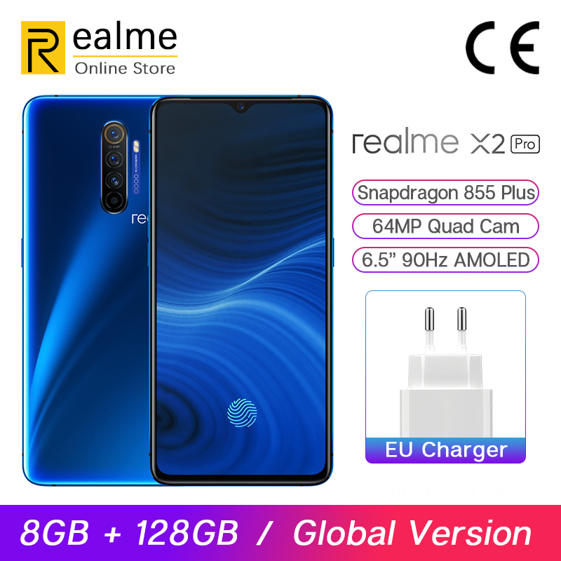 In Stock Global Version Realme X2 Pro 8GB 128GB 6.5'' Smartphone Snapdragon 855 Plus 64MP Quad Camera 90Hz Display NFC 50W VOOC