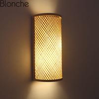Traditional Bamboo Wall Lights Retro Wall Lamps for Bedroom Corridor Hotel Restaurant Decor Light Fixtures Hand woven Luminaire