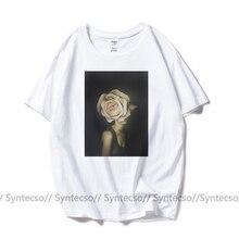 Винтажный графического искусства футболка цветок женщины печати футболка принт лето белый хлопок топ тис с коротким рукавом плюс размер футболка