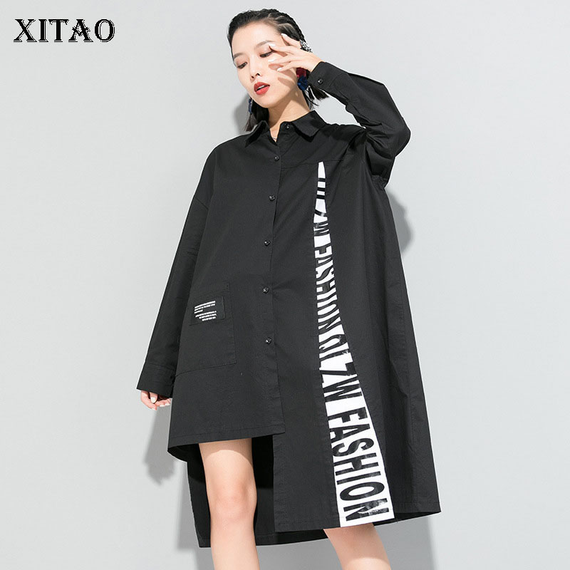 XITAO Tide Brand Womens Tops And Blouses 2020 Spring New Irregular Mid-length Shirt Loose Plus Size Letter Streetwear DMY3213