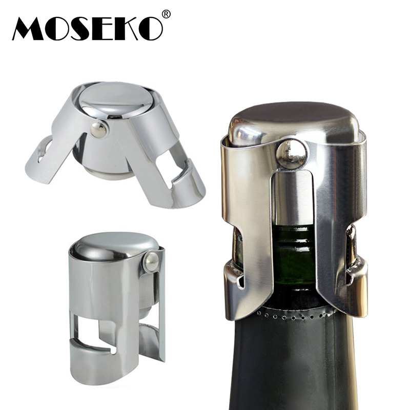 MOSEKO Stainless Steel Champagne Wine Bottle Stopper Portable Sealer Bar Stopper Wine Stopper Sparkling Wine Bottle Cap