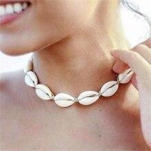 Nova moda corda corrente natural concha gargantilha colar colar colar concha gargantilha colar para mulher verão oceano colar