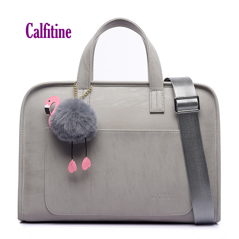 Frosted PU Leather Bag For 13.3 14 15.6Inch Laptop Fashion Waterproof Shoulder Handbag Business Briefcase With Flamingo Pendant
