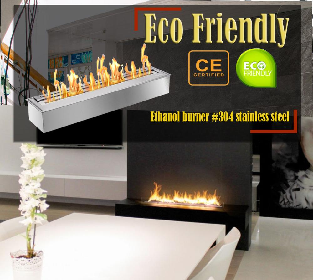 Inno Living Fire  48 Inch Chimenea Alcohol Pared Bioethanol Insert Fireplace