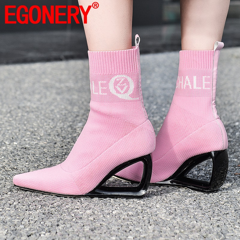 EGONERY women shoes winter new fashion sexy square toe outdoor warm ankle boots super high heels plus size shoes drop shipping