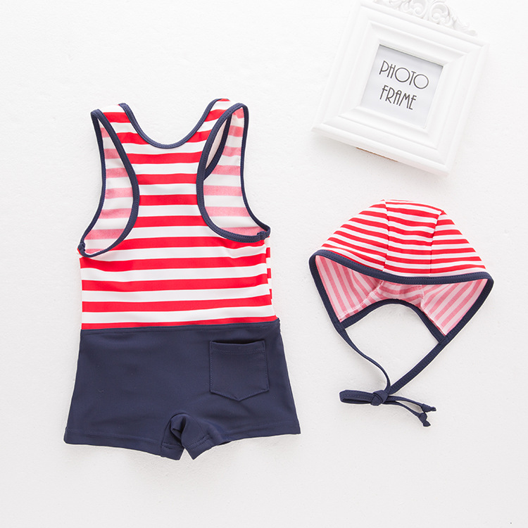 Boys' Cotton One-piece Swimsuit Stripes Vest Sailor Boxer Swimwear Children KID'S Swimwear Quick Drying Clothes + Swim Cap