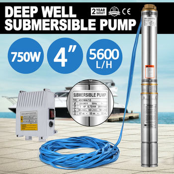 0.75KW 1HP 220V Deep Well Pump 4 Inch 5600L/H Submersible Water Pump 750W + 20M Cable image