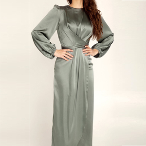 Abaya Wrap Front Dress Long Sleeve Satin Solid Color Slit to the waist Long Dress Women Dubai Turkey Fashion Elegant Wear