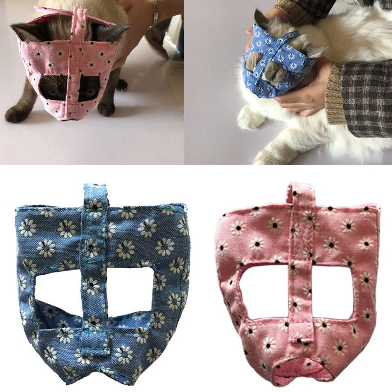 Breathable Cat Muzzle Anti-Bark Bite Grooming Mask Adjustable Pet Kitten Mouth Mask Cover For Bathing Cleaning Supplies