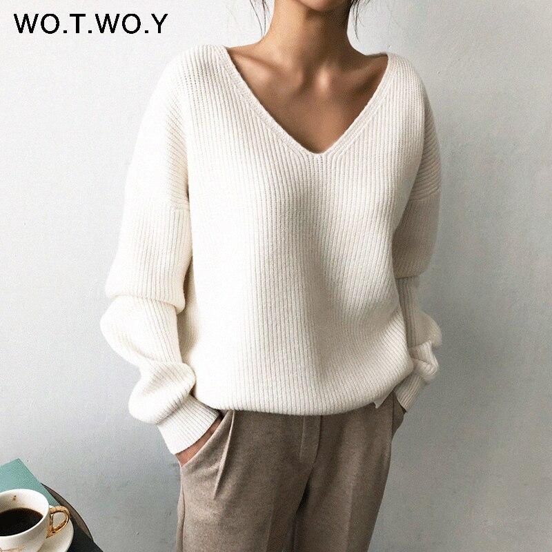 Женский свитер с длинным рукавом WOTWOY, белый вязаный Свитер оверсайз с треугольным вырезом на осень и зиму|Водолазки|   | АлиЭкспресс